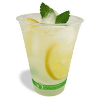 Jaya Compostable PLA Clear Cold Cups- 9, 12, 16, or 20 oz.- Case of 1000