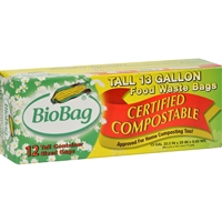 BioBag 13 Gallon Tall Food Waste Bags - Case of 12, 12 Count