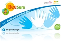 BeeSure SLIM Nitrile Powder Free Exam Gloves- white- 200/box, 10bx/cs