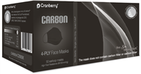 Carbon Black 4-ply facemask with nose and chin adjustment strips by Cranberry