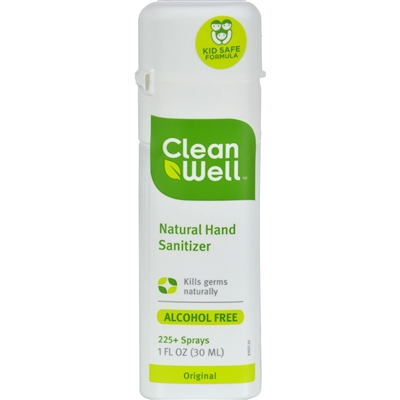 CleanWell All-Natural Hand Sanitizer Spray Alcohol-Free - 1 fl oz - Case of 24