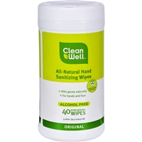 CleanWell All-Natural Hand Sanitizing Wipes - 40 Wipes