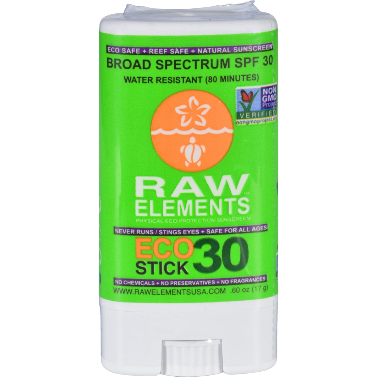 Raw Elements Eco Form Sunscreen Stick - SPF 30 Plus -  6 oz