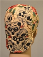 Skull covered welding hat tattoos with growing roses