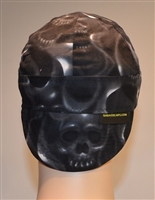 Black skulls welding hats on fire with smoke and angry looking skull.