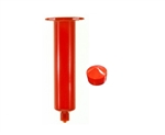 30cc Amber Syringe Barrel with red wiper piston