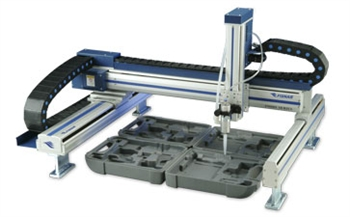 Gantry style 4 axis robot 600mm x 600mm work area.