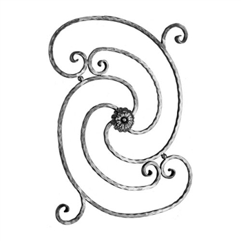 "Scroll Hammered W/Rosette 9/16"" Sq 22-3/8"" X 29-3/"