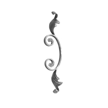 "Scroll W/Forged Leaves 1/2 X 1/4"" Matl  3-5/32 X 1"
