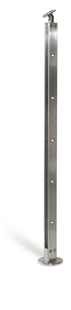 Flat Bar Stainless Steel Newel Post For 8 Round Bars 1 2 Dia Floor Mounted