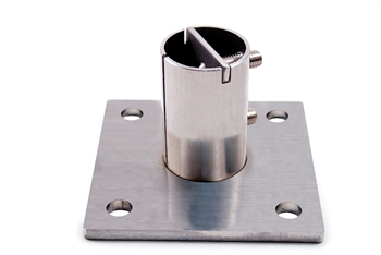 "Stainless Steel Anchorage 3 15/16"" Sq. 4 Holes 7/16"" Dia."