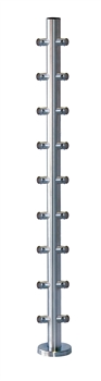 "Stainless Steel 1 2/3"" Corner Newel Post with Round Bar supports"