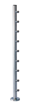 "316 Stainless Steel 1 2/3"" Newel Post with Round Bar supports"
