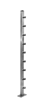 Stainless Steel Square Newel Post with Round Bar Supports