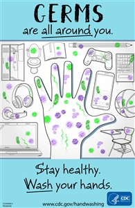 "Stay Healthy Wash Your Hands 11"" x 17"" Sign"