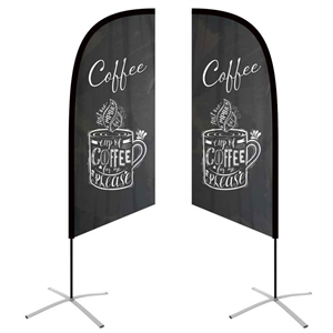 small angled feather flag double-sided