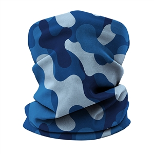 Versatile tubular neck gaiter face mask with a blue camouflage design.
