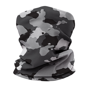 Versatile tubular neck gaiter face mask with a gray camouflage design.