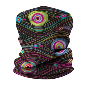 Versatile tubular neck gaiter face mask with an abstract design.