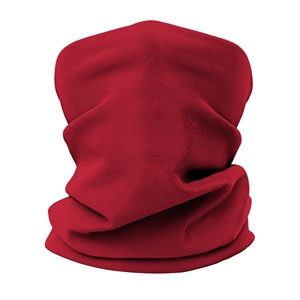 Versatile tubular neck gaiter face mask with a red design.