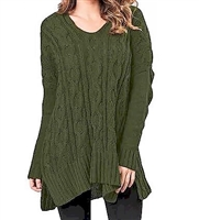 Vee neck cable sweater