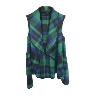 Open Front Plaid Vest
