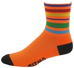 "Velo Stripes Socks 6"" - Neon Orange"
