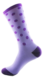 "Polka Dots Tall Socks 8"" - Purple"