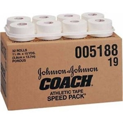"Coach Porous Athletic Tape, White, Self-Adhesive, 1-1/2"" x 15 Yds, 32/CS"