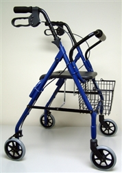 4 Wheel Rollator sunmark® Econo 32 to 37 Inch Blue Folding Aluminum