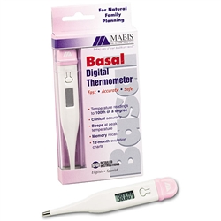 Basal Digital Thermometer, LCD, Fahrenheit, White/Pink