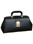 "Black Leather Specialist Bags With Brass Fittings, 12"" x 7"" x 5"""