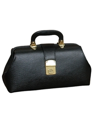 "Black Leather Specialist Bags With Brass Fittings, 16"" x 9"" x 6"""