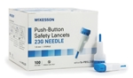 McKesson Safety Lancet, Fixed Depth Lancet Needle, 1.8 mm Depth, 23 Gauge, Push Button, 100/BX