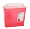 McKesson Prevent Sharps Container, 2-Piece, 10-3/4 H x 10-1/2 W x 4-3/4 D, 5 Quart, Red, Horizontal Entry Lid