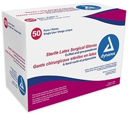 Dynarex, Sterile, Surgeons Latex Gloves, (Size 6.5), Powdered, 50PR/BX, 4BX/CS