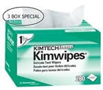 "Kimteck Kimwipes, Equipment Wipes, 4.5"" x 8.5"", Disposable, 280/BX, 3BX"