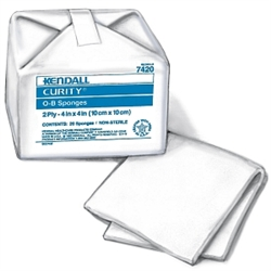 "Curity O-B Cotton Sponges, 2 Ply, 4"" X 4"", Square, 100/PK"