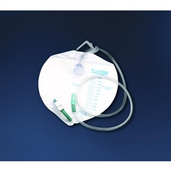 Bardia Urinary Drain Bag, Anti-Reflux Valve, 2000 mL, Vinyl, 20/CS
