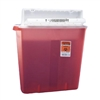 "SharpStar In-Room Multi-purpose Sharps Container, Translucent Red Base, 18.5""H X 16.5""W X 6""D, Horizontal Entry Lid, Locking Lid, 4 Gallon, 10/CS"