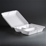 "Foam Hinged Carryout Food Container, 3-Compartment, 9 1/2"" x9 1/4"" x 3"", 200/CS"