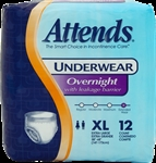 Attends Overnight Underwear, X-Large, Super Absorbency, 12/PK, 4PK/CS
