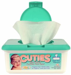 "Baby Wipes, Cuties, 7.7 x 6.7"", Fragrance Free Tub, 80/PK 12PK/CS"