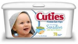 Cuties, Baby Wipes, Unscented, 78/PK 12PK/CS