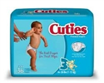 Diapers, Cuties, 16-28 lbs., Size 3, 36/PK 4PK/CS