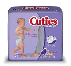 Baby Diapers, Cuties, 22-37 lbs., Size 4, 31/PK 4PK/CS