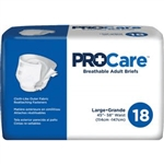 "ProCare Adult Incontinent Briefs, Tab Closure, Large, Disposable, Heavy Absorbency, 45-58"", Blue, 18/PK, 4PK/CS"