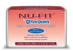 "Brief Nu-Fit, Limited Mat Body Shaped, 32-44"", Moderate Absorbency, Medium, White, 16/PK, 6PK/CS"