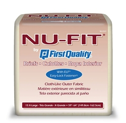 "Brief Nu-Fit, Limited Mat Body Shaped, 59-64"", Moderate Absorbency, X-Large, Beige, 15/PK, 4PK/CS"
