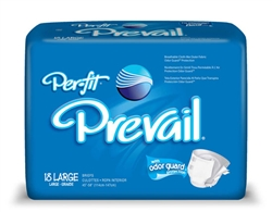 "Briefs Prevail, Per-Fit, Limited Mat Body Shaped, 45-58"", Large, Moderate-Heavy Absorbency, Blue, 18/PK, 4PK/CS"